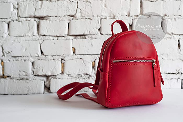 71f8e8d410 RED backpack Mini leather backpack Handmade backpack Vintage backpack  Womens backpack Leather rucksack Womens leather bag Small backpack Backpack  purse