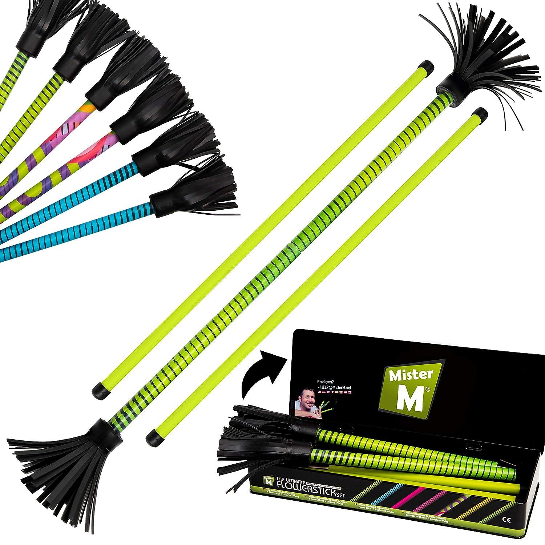 "Mister M ✓ ""The Ultimate Flowerstick Set"" CE Tested Collapsable Flowerstick Sticks Online Video Flowerstick and Hand Sticks are collapsable Green"