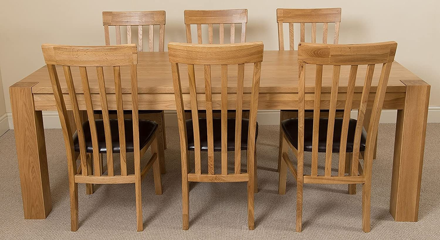 7ft Chunky Solid Oak Dining Table And 6 Chairs 220 X 100 Cm Large Oak Dining