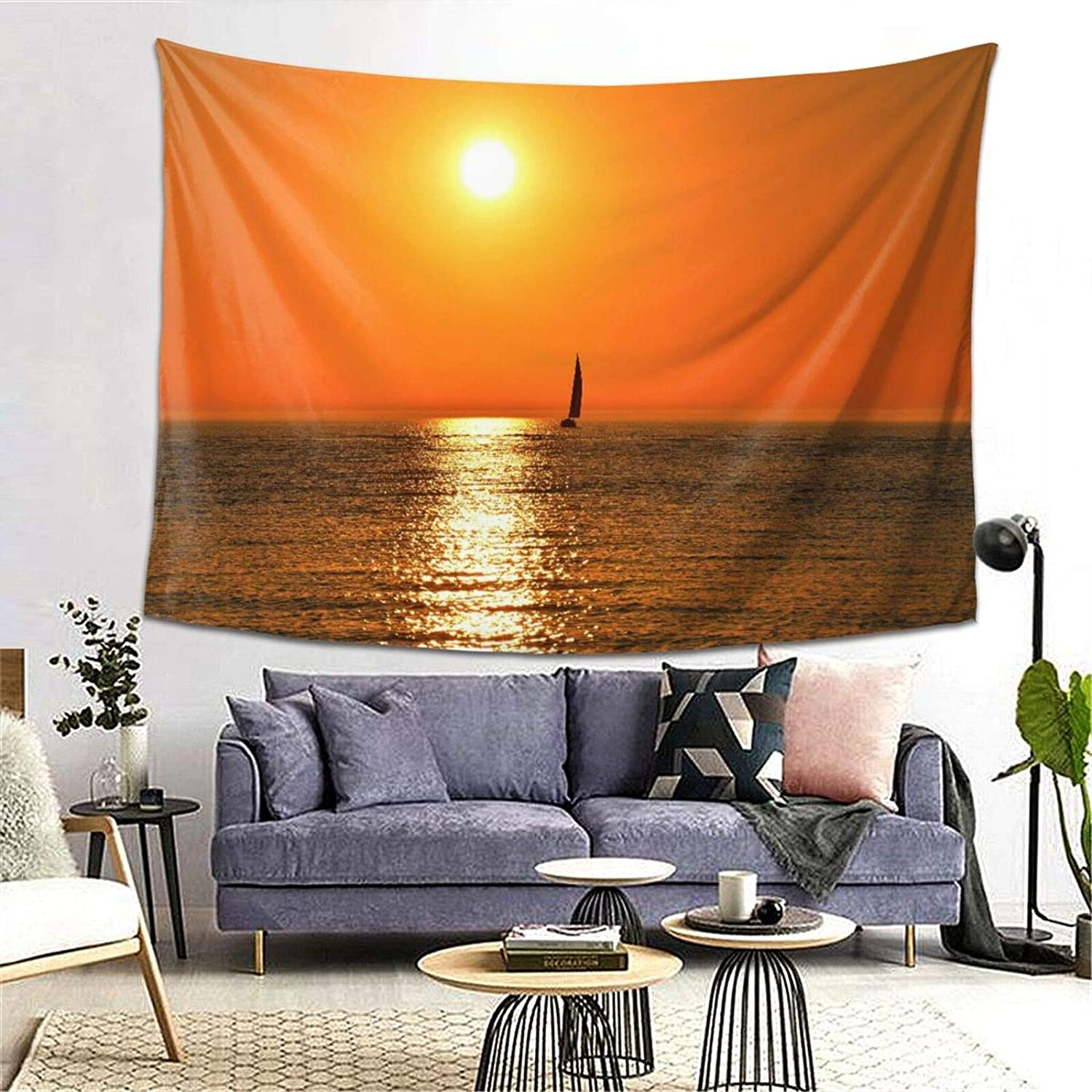 Personalized Tapestry for Room Wall Hanging Microfiber Thin Cloth,Small Yacht Sailboat On Lake Michigan at Sunset Nautical Serenity Maritime Culture,Covering Home Decor Indoor Outdoor,W80 x L60in
