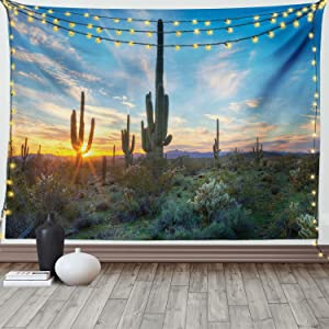 Ambesonne Saguaro Tapestry, Sun is Setting Between Cactus Plants with Spines Noon Landscape Wild Design, Wide Wall Hanging for Bedroom Living Room Dorm, 60