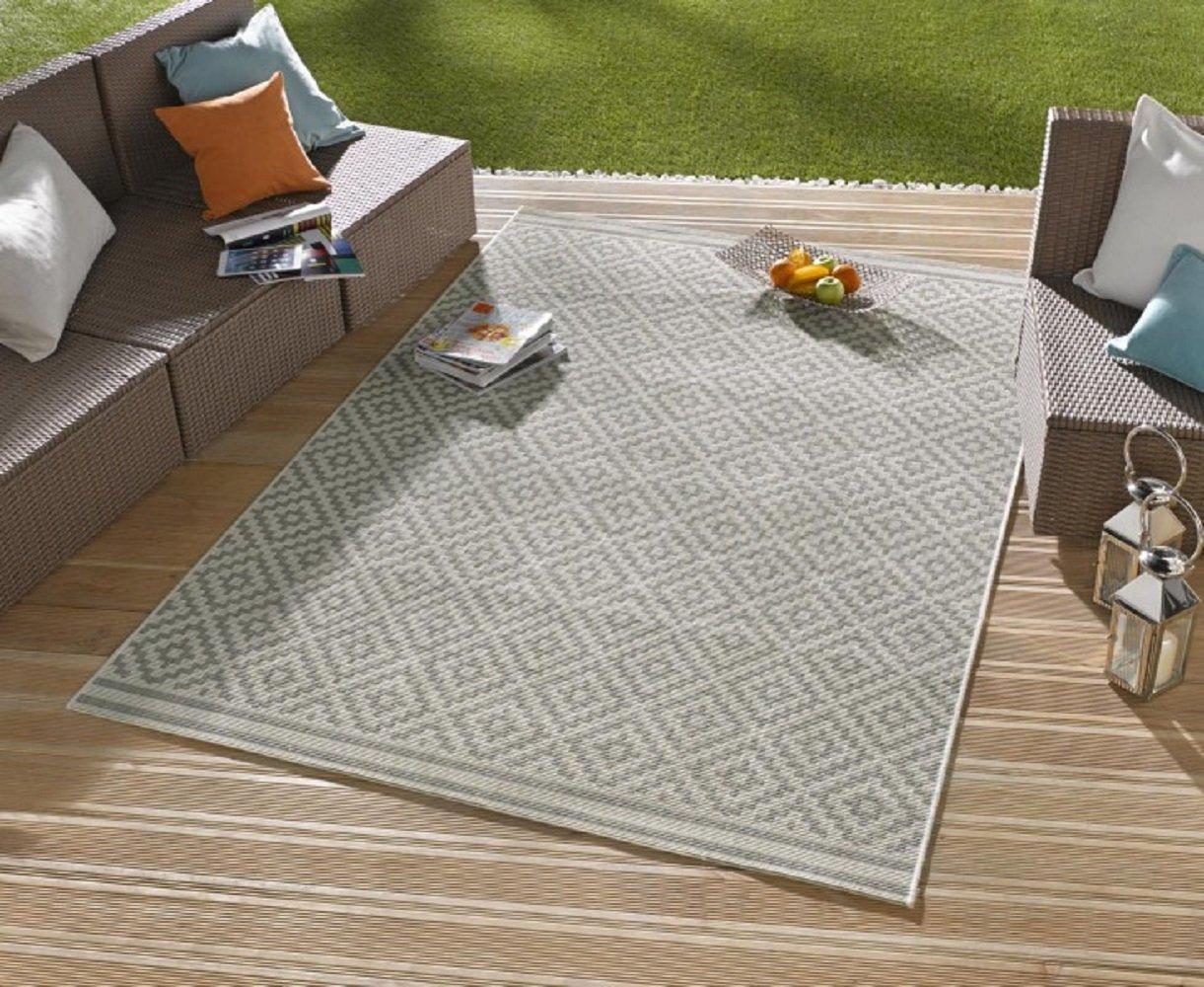 Teppich   moderner Teppich   Wohnzimmerteppich Outdoorteppich - für Balkon oder Terasse - für In und Outdor geeignet - der Hingucker zu Ihren Gartenmöbel - Raute Grau Creme - ca 160 x 230 cm