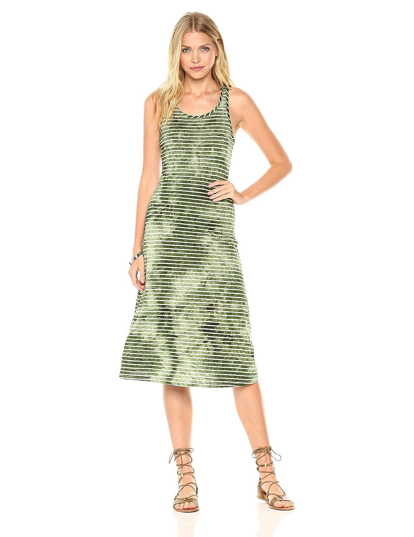a2e8b50cd2 Amazon.com  Peace Love Maxi Women s Horizontal Water Ripple Green and White  Stripe Dress  Clothing