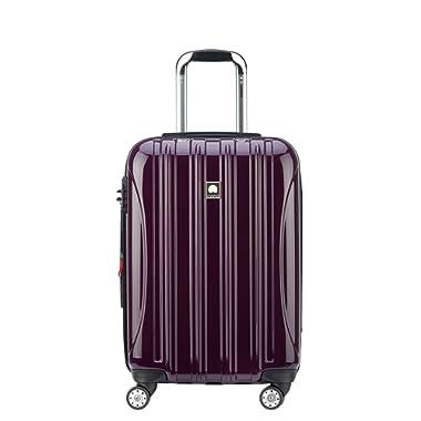 Delsey Luggage Helium Aero, Carry On Luggage, Hard Case Spinner Suitcase, Plum Purple
