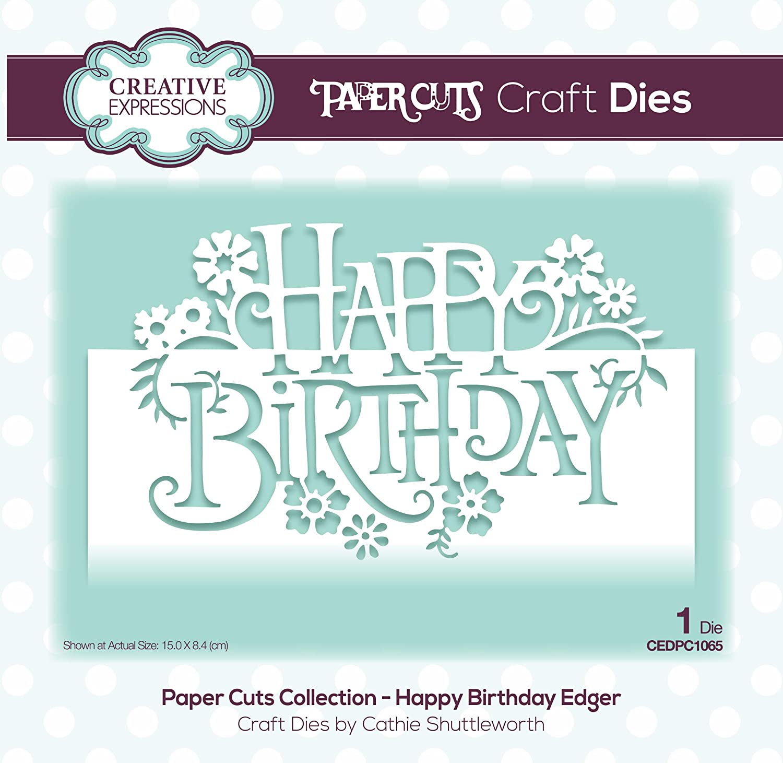 Creative Expressions Matrice de d/écoupe Happy Birthday Argent/é 15 x 8,4 cm