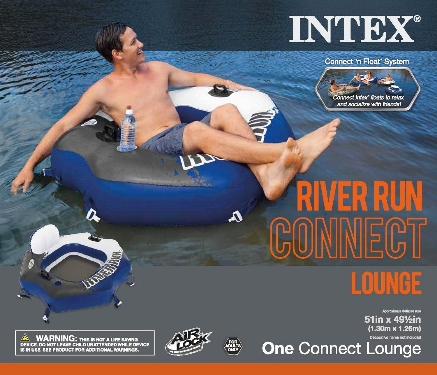 Intex River Run Inflatable Lounge Tube, 4 Pack & Inflatable Cooler Float, 2 Pack by Intex (Image #9)