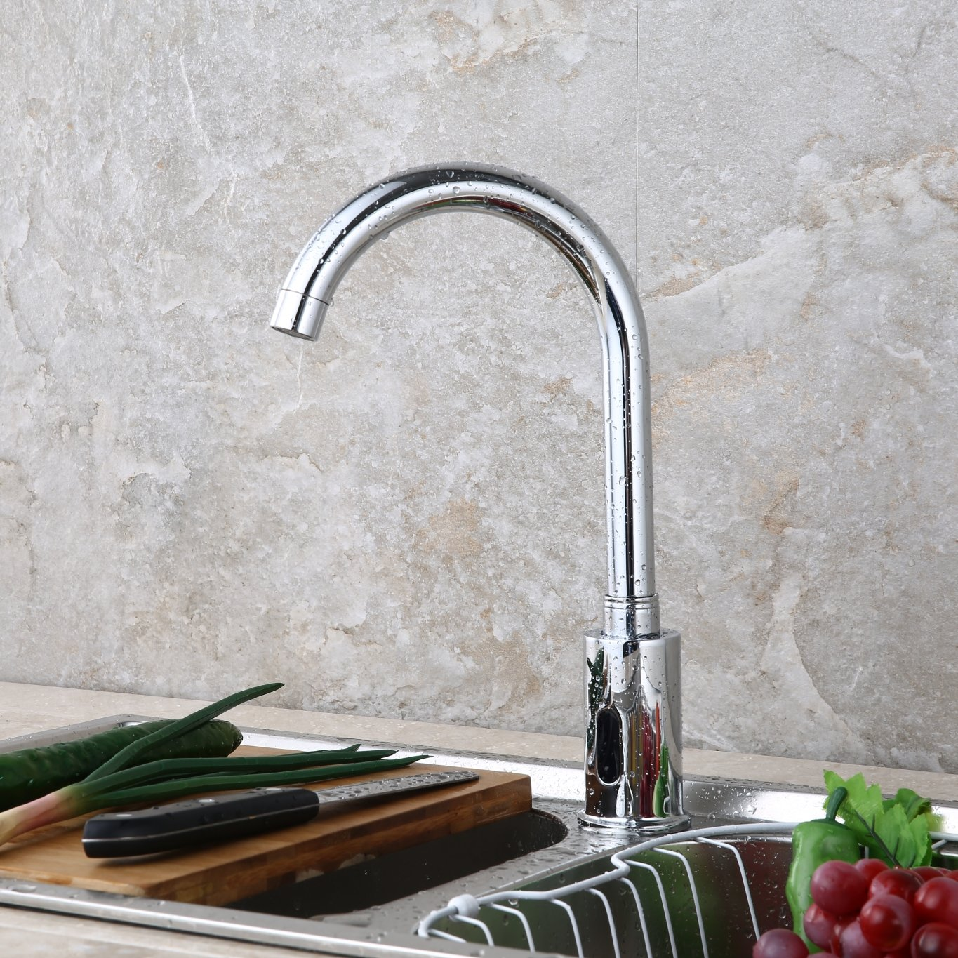 DUAL-POWER Automatic Sensor Faucet Touch Free Kitchen Bathroom Sink Tap, Chrome by Amyfaucet (Image #3)