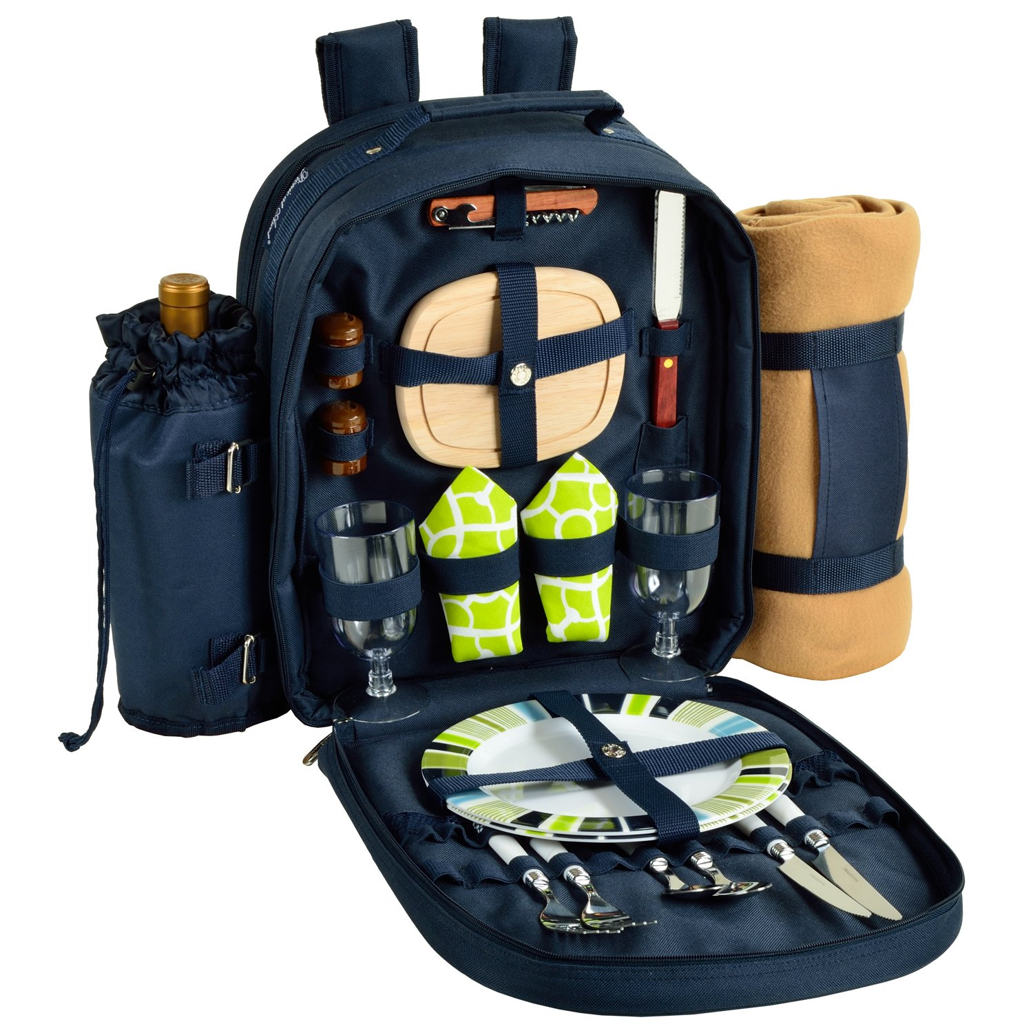 Picnic at Ascot - Deluxe Equipped 2 Person Picnic Backpack with Cooler, Insulated Wine Holder & Blanket - Trellis Green
