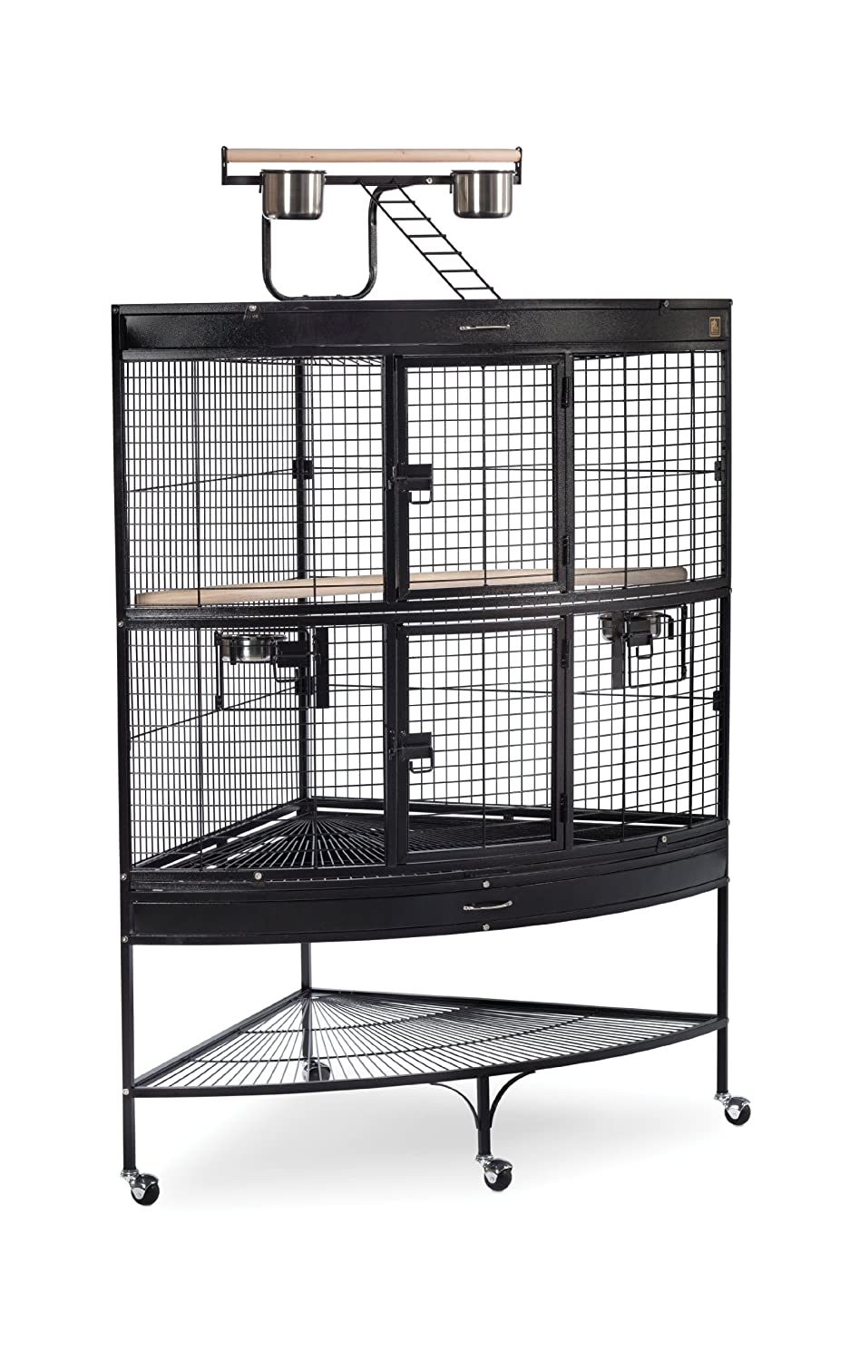 Black Prevue Pet Products Large Corner Bird Cage, 45-Inch by 30-Inch by 69-Inch, Black