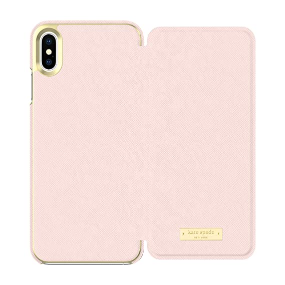 new products d6a9e 911d7 Kate Spade New York Phone Case | for Apple iPhone Xs Max | Protective Phone  Cases with Folio Design and Drop Protection - Saffiano Rose Quartz/Gold ...