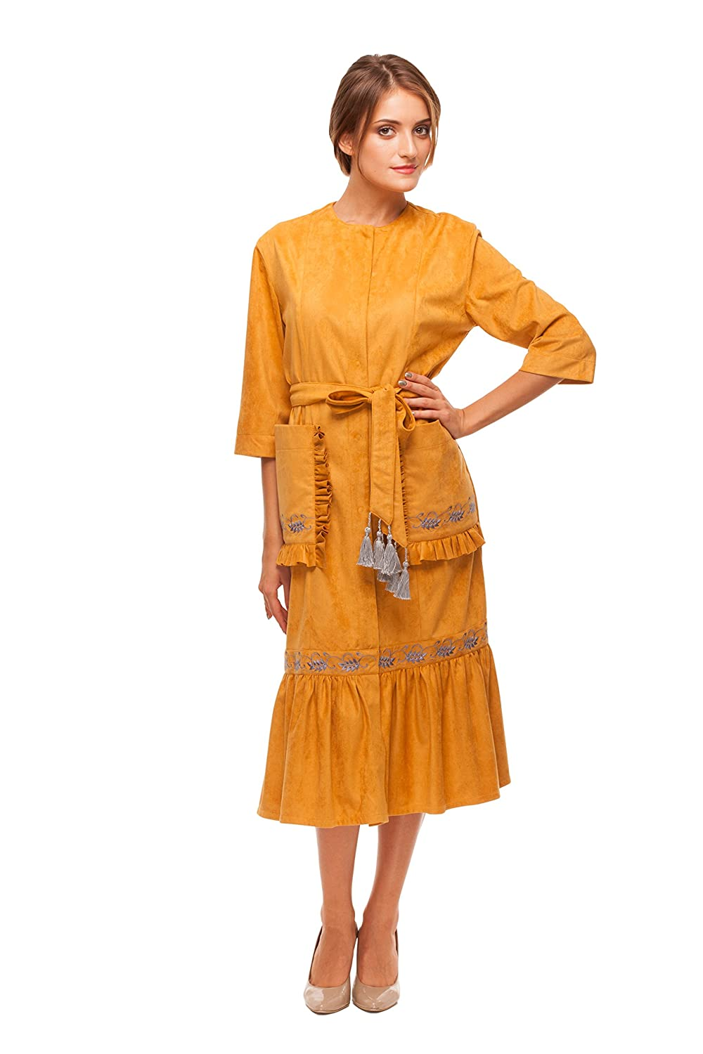 Embroidered Ocher Woman Trench-Dress Spikelets. Ukrainian Embroidered Dress