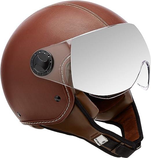 casco jet de piel