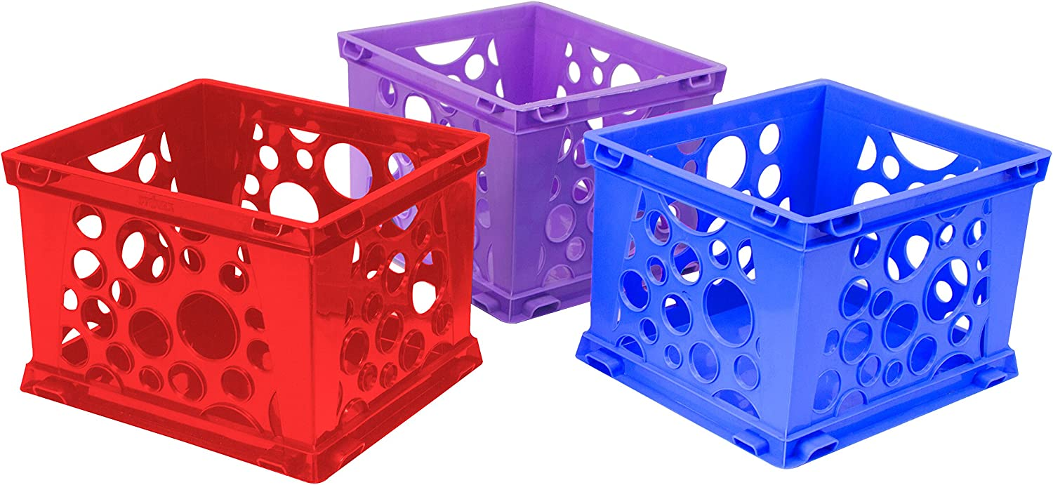 Storex Large Premium File Crate with Solid Bottom, Stores Hanging Files, Portable, Assorted Colors, 17.25 x 10.5 x 14.25 Inches, 3-Pack(61797U03C)