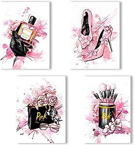 Women Fashion Canvas Wall Art ,Pink Bedroom Wall Decor, Perfume Modern Art Posters,Fashion High Heels, Makeup Brush, , Girls Room Decor, Black and Pink Fashion Poster