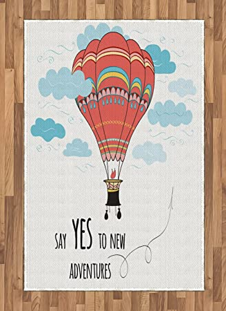 Amazoncom Ambesonne Cartoon Area Rug Inspirational Quote Say Yes