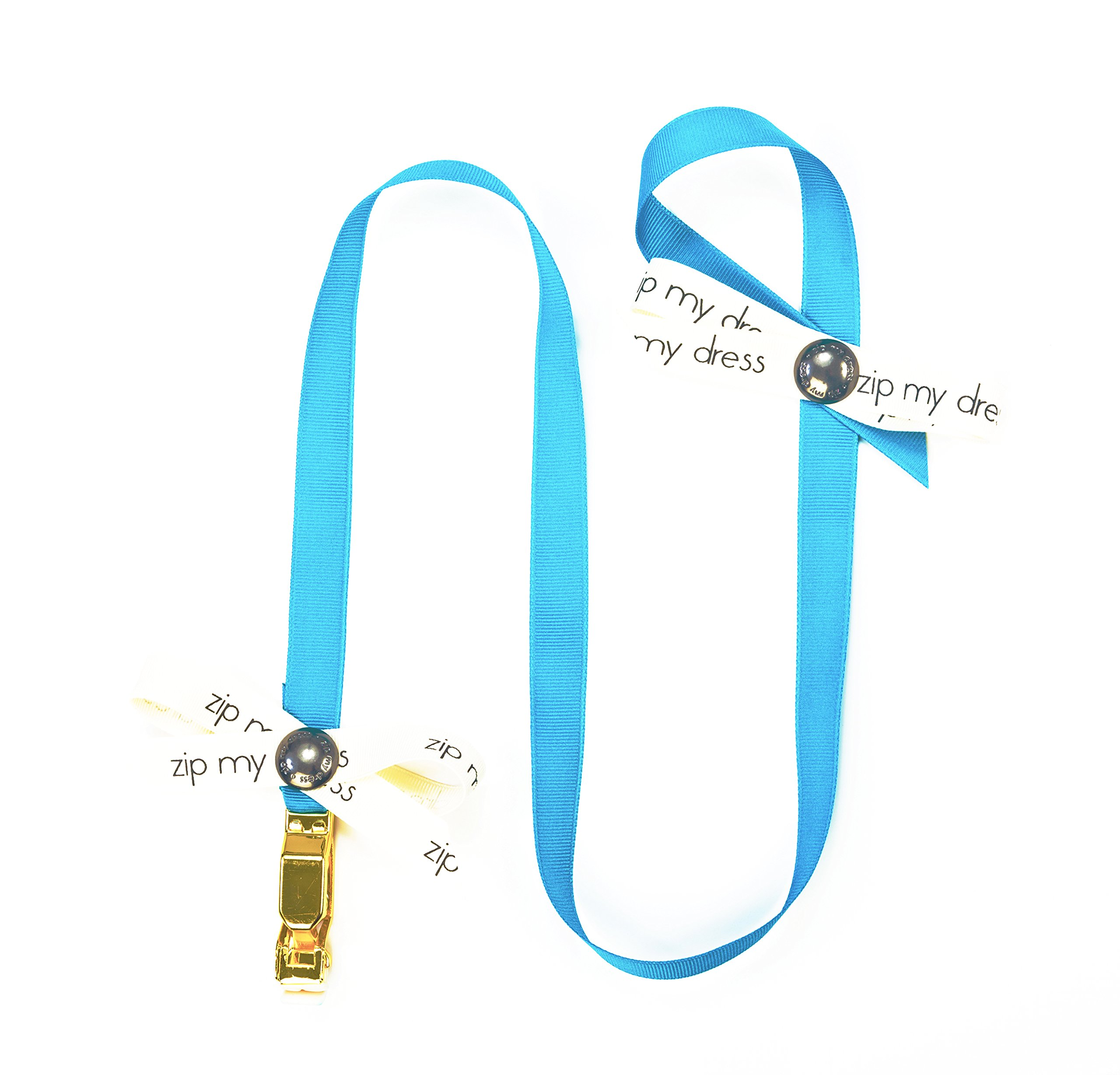 Zip My Dress Zipper Puller with Turquoise Blue Ribbon | Zipper Aid