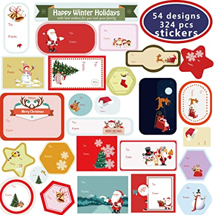 Christmas Labels.Amazon Com Christmas Self Adhesive Gift Tag Stickers 30