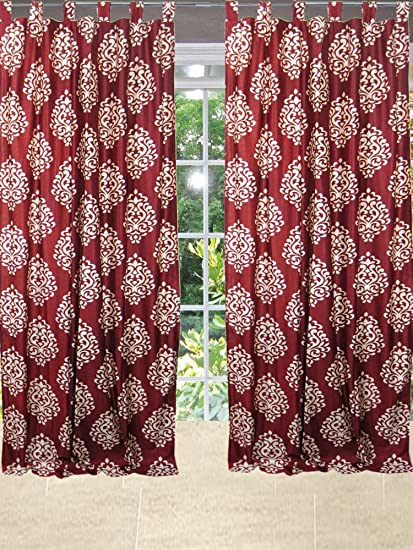 Red Curtains amazon red curtains : Amazon.com: Mogulinterior Spanish Medallion Red Curtains Window ...