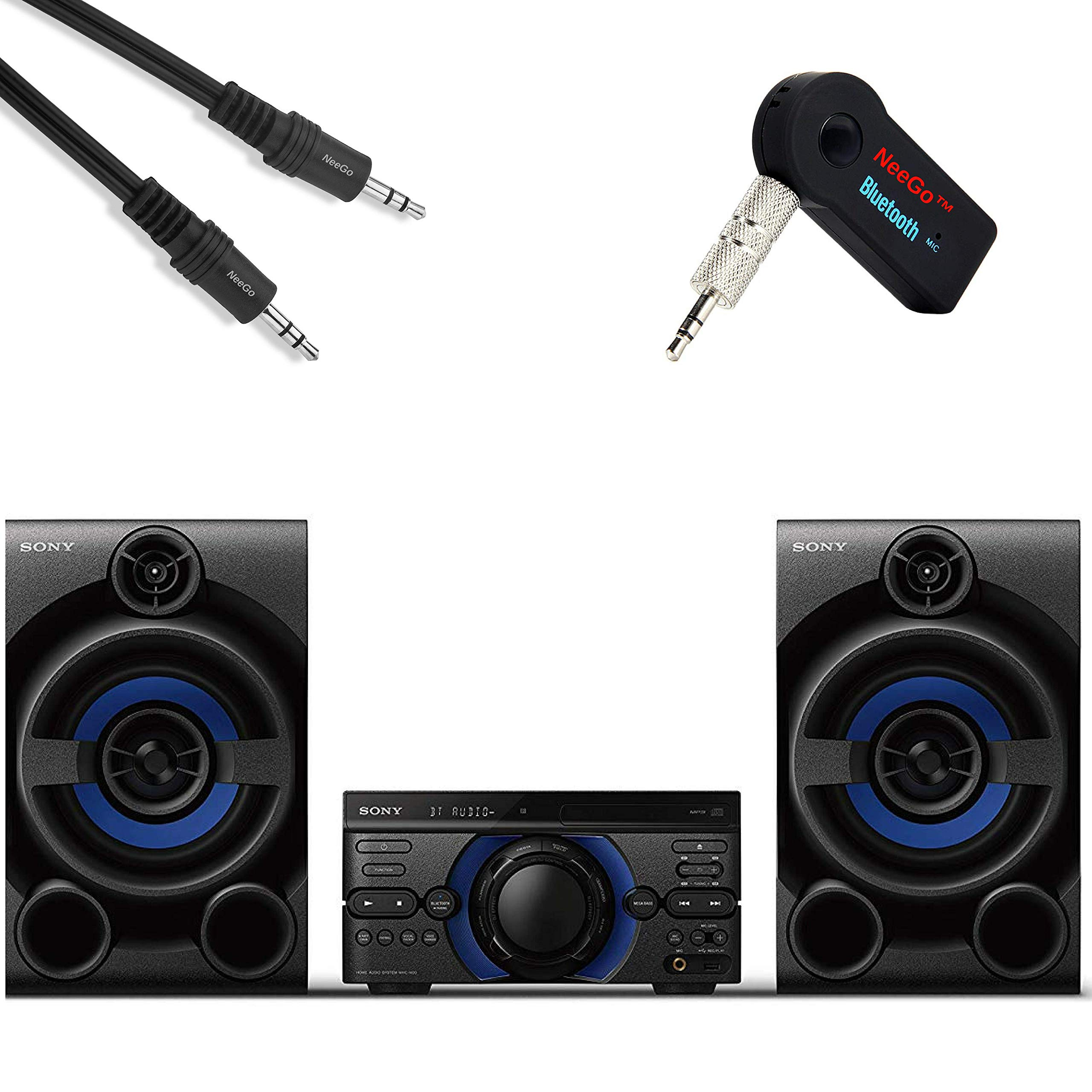 Sony High Power Audio System Bundle - [3] Piece Set Includes: High Power Audio System with CD, NeeGo Bluetooth Receiver; NeeGo 3.5mm AUX Cord