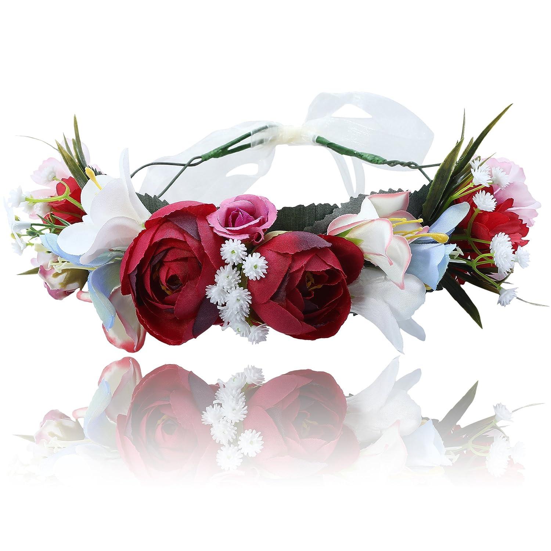 AWAYTR Femme Fleur Bandeaux Guirlande Couronne - Fait main Ré glable Filles Bandeau Floral Tê te de Mousse avec Ruban pour la noce (Beige)