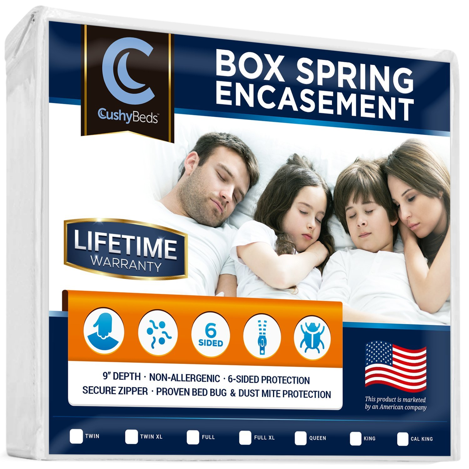 Premium Box Spring Encasement Zippered Cover by CushyBeds - Bed Bug, Dust Mites & Allergy Proof - 100% Waterproof, Hypoallergenic, 6-Sided Protection - Split Cal King Size - (Fitted 7-9'' Depth)