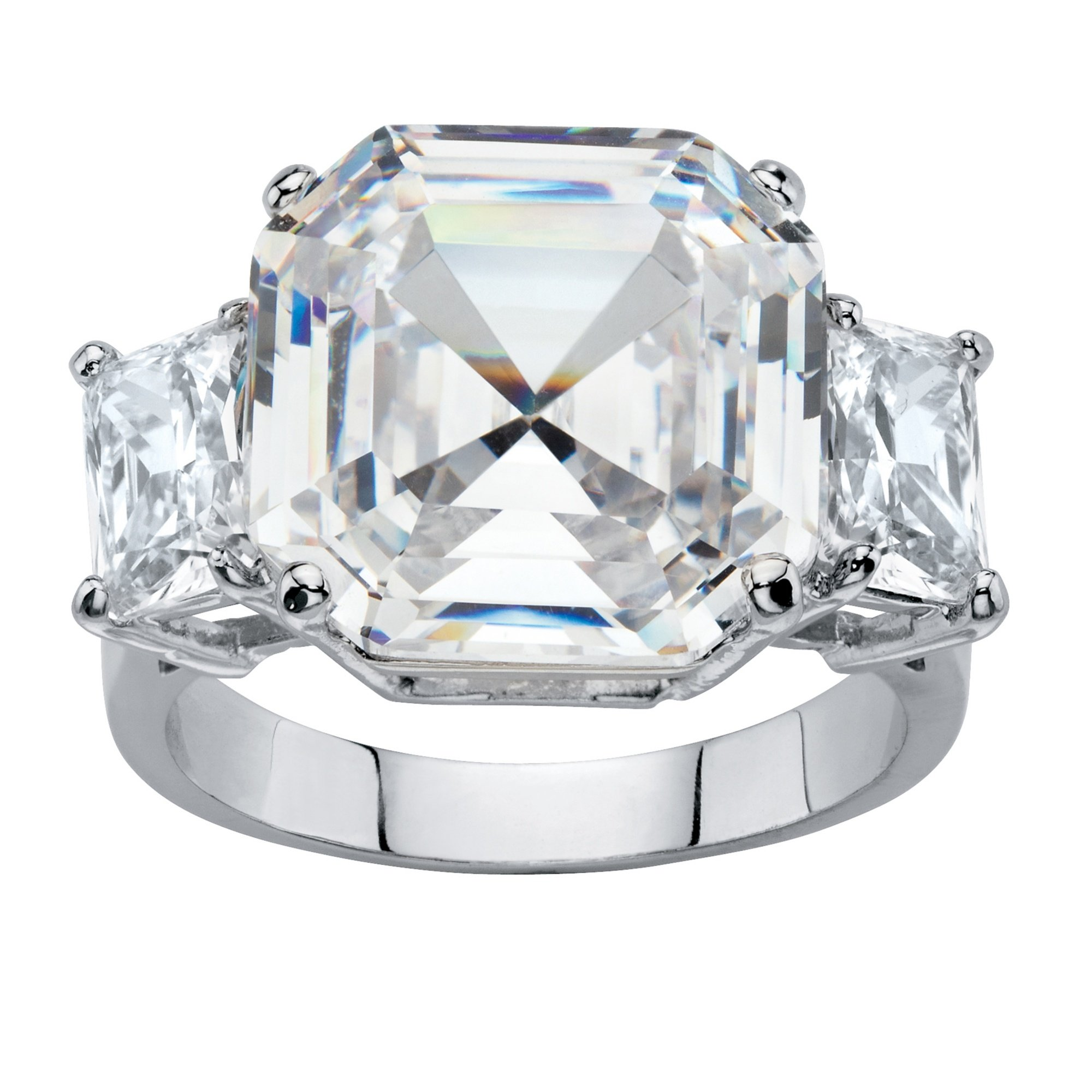 Palm Beach Jewelry Octagon-Cut White Cubic Zirconia Platinum-Plated 3-Stone Engagement Anniversary Ring Size 7