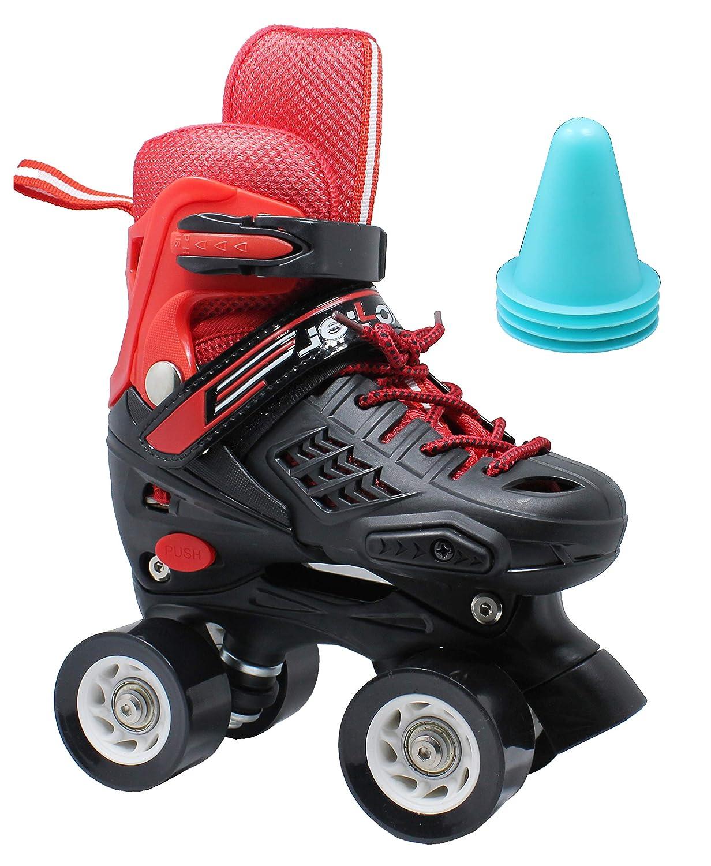 WiiSHAM Rollschuhe mit 4 Rollen, verstellbar rot   SchwarzM