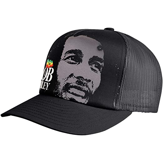 11c43721b02 Amazon.com  Bob Marley Portrait   Logo Trucker Hat - Black  Clothing