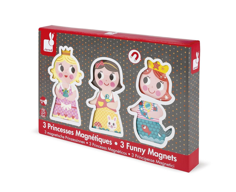 Janod - Funny Magnets Princesas, 3 personajes magnéticos de madera ...