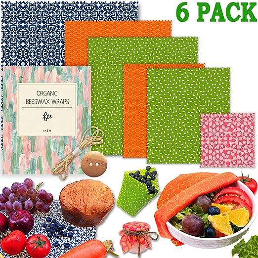 Eco Reusable Beeswax Food Wrap-Family Bundle of 6 Choose your fabric