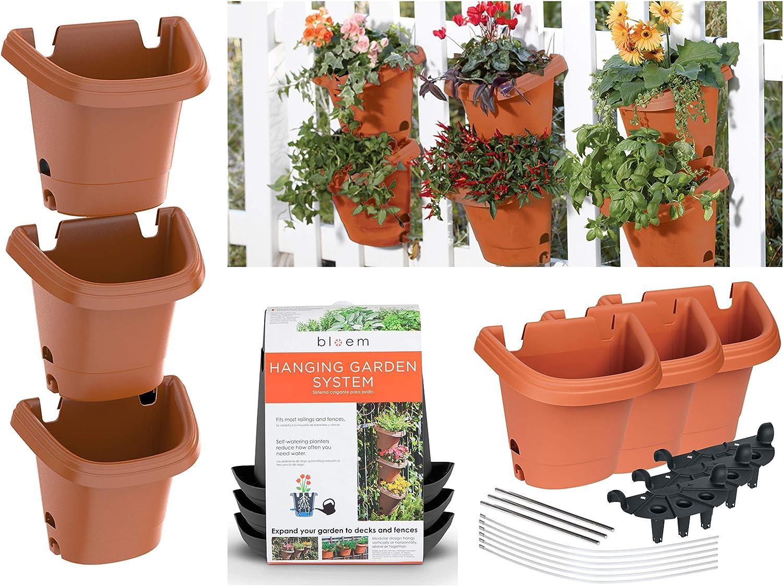 6 X Strawberry Planter Trio Pot Stacking Herb Flower Trendy Garden BLUE