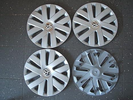 VW 6R0601147C - Set de tapacubos originales (4 unidades, con clips, 15 pulgadas