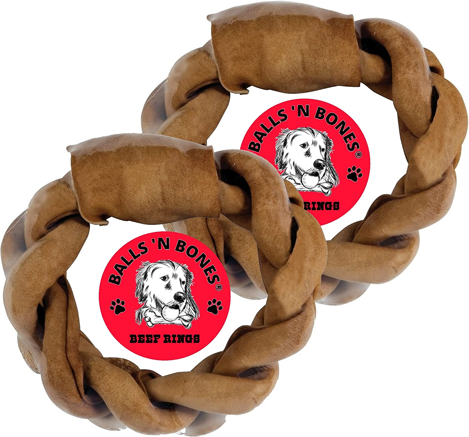 Balls n Bones 8 Beef Braided Rawhide Ring for Large Dogs, Safety-Sealed, Twin-Pack