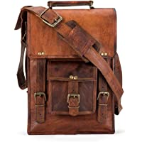 Swastik Leather Journal and Bags, Borsa Messenger Marrone Marrone 9 x 11 x 3