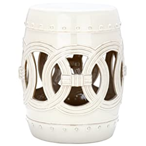 Safavieh Castle Gardens Collection Double Coin Cream Ceramic Garden Stool