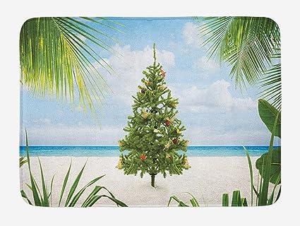 Island Christmas Theme.Christmas Bath Mat Tree With Tinsel And Ornaments Tropical