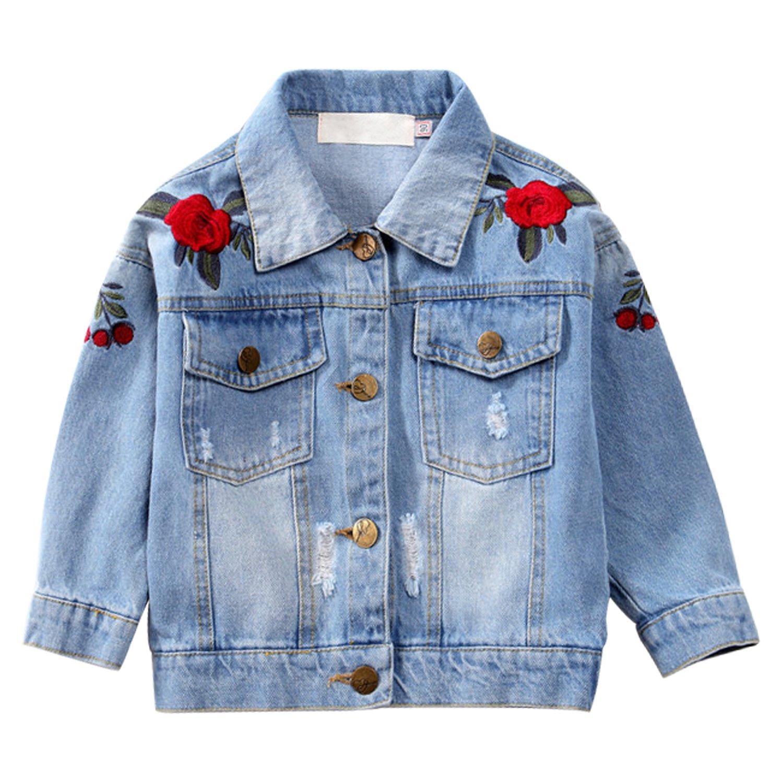 Kids Girls Loose Fit Denim Jacket Flower Embroidery Vintage Light Wash Ripped JeanTops