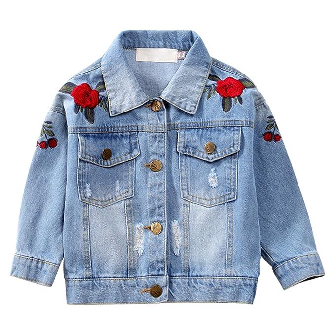f60f0dfa8 Kids Girls Loose Fit Denim Jacket Flower Embroidery Vintage Light ...
