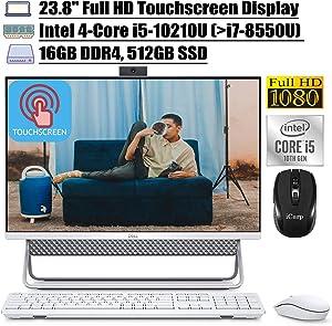 "2020 Latest Dell Inspiron 24 5000 5490 All in One Desktop 23.8"" Full HD Touchscreen Intel Quad-Core i5-10210U (Beat i7-8550U) 16GB DDR4 512GB SSD WiFi HDMI Webcam Win 10 + iCarp Wireless Mouse"