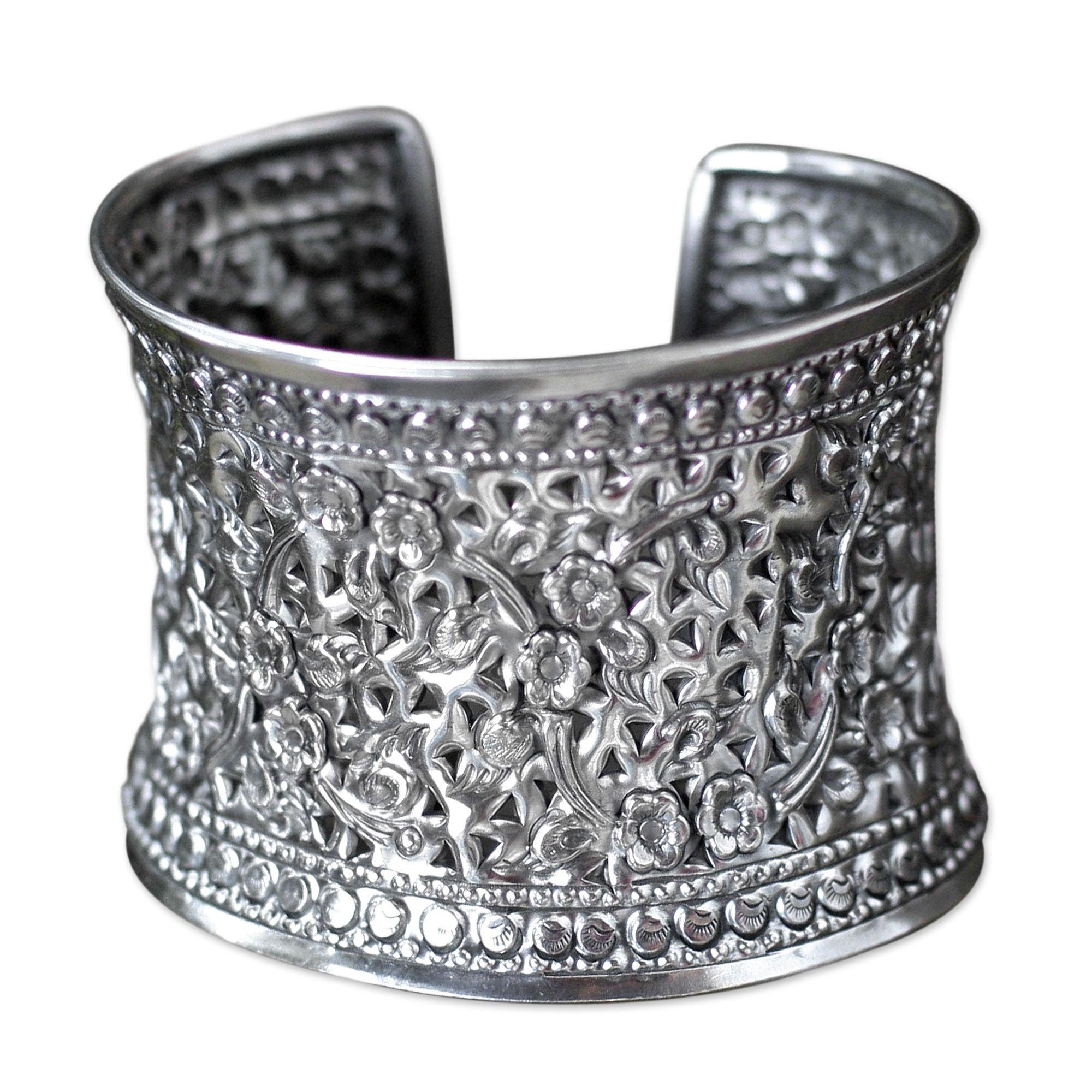 NOVICA .925 Sterling Silver Cuff Bracelet, 7.0'', 'Floral Sparkle'