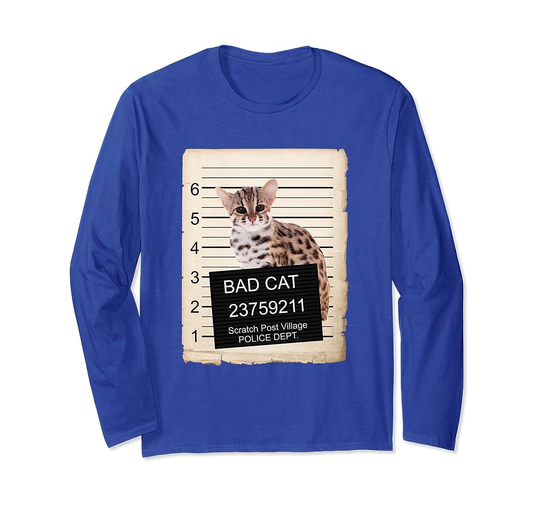 asian leopard Cat mug shot bad Cat Long Sleeve Shirt-AZP