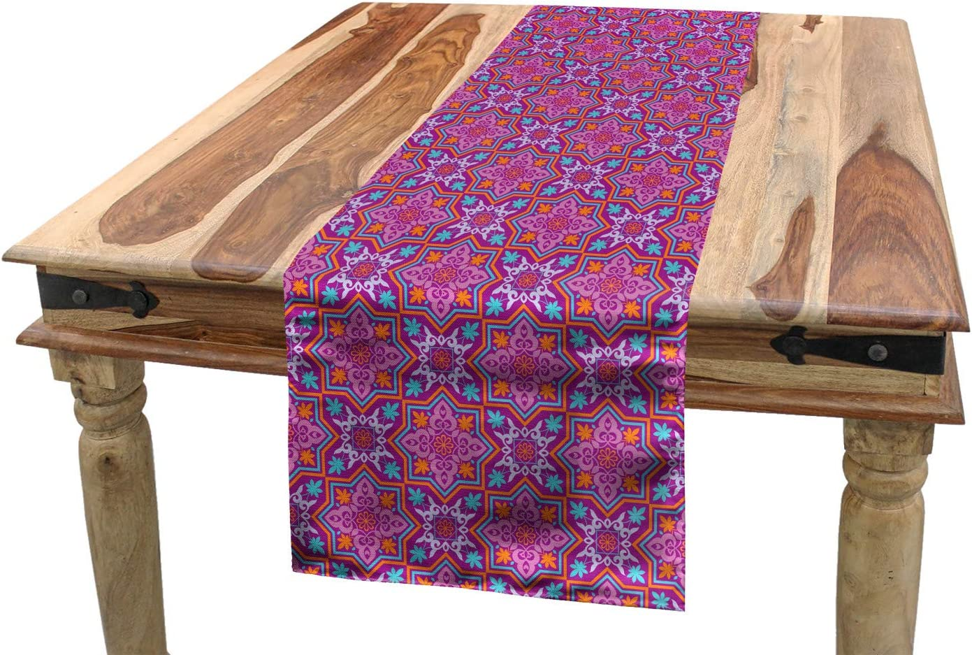 """Lunarable Middle Eastern Table Runner, Nature Blossom Motif with Geometric Shapes Swirled Composition Star Shape, Dining Room Kitchen Rectangular Runner, 16"""" X 72"""", Dark Magenta"""