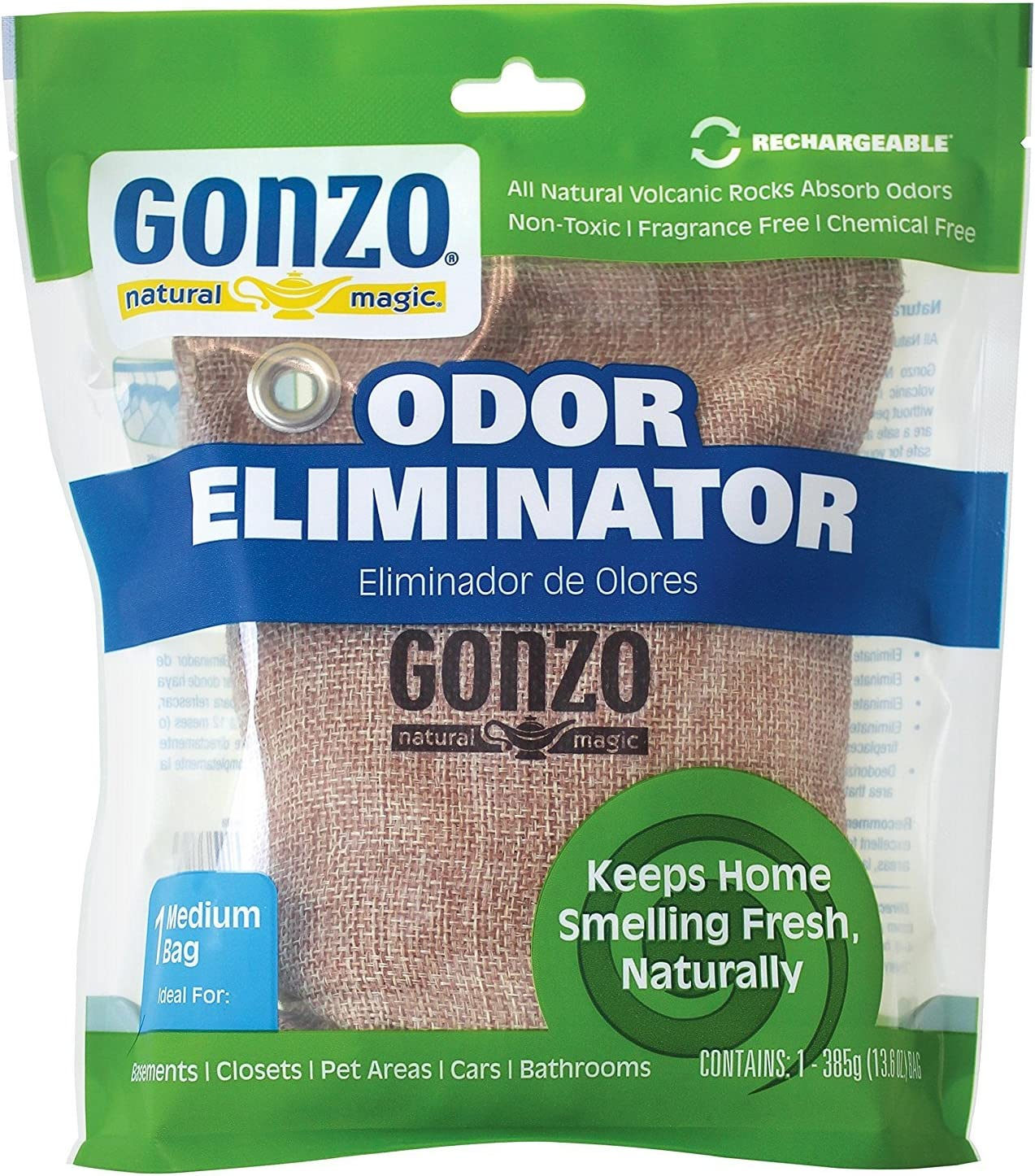 Gonzo Reusable Air Freshener - 1 Bag - Odor Eliminator For Home Basement Car Smoke Smell Gym Bag - All Natural Non-Toxic Safe Around Kids and Pets Fragrance Free Chemical Free