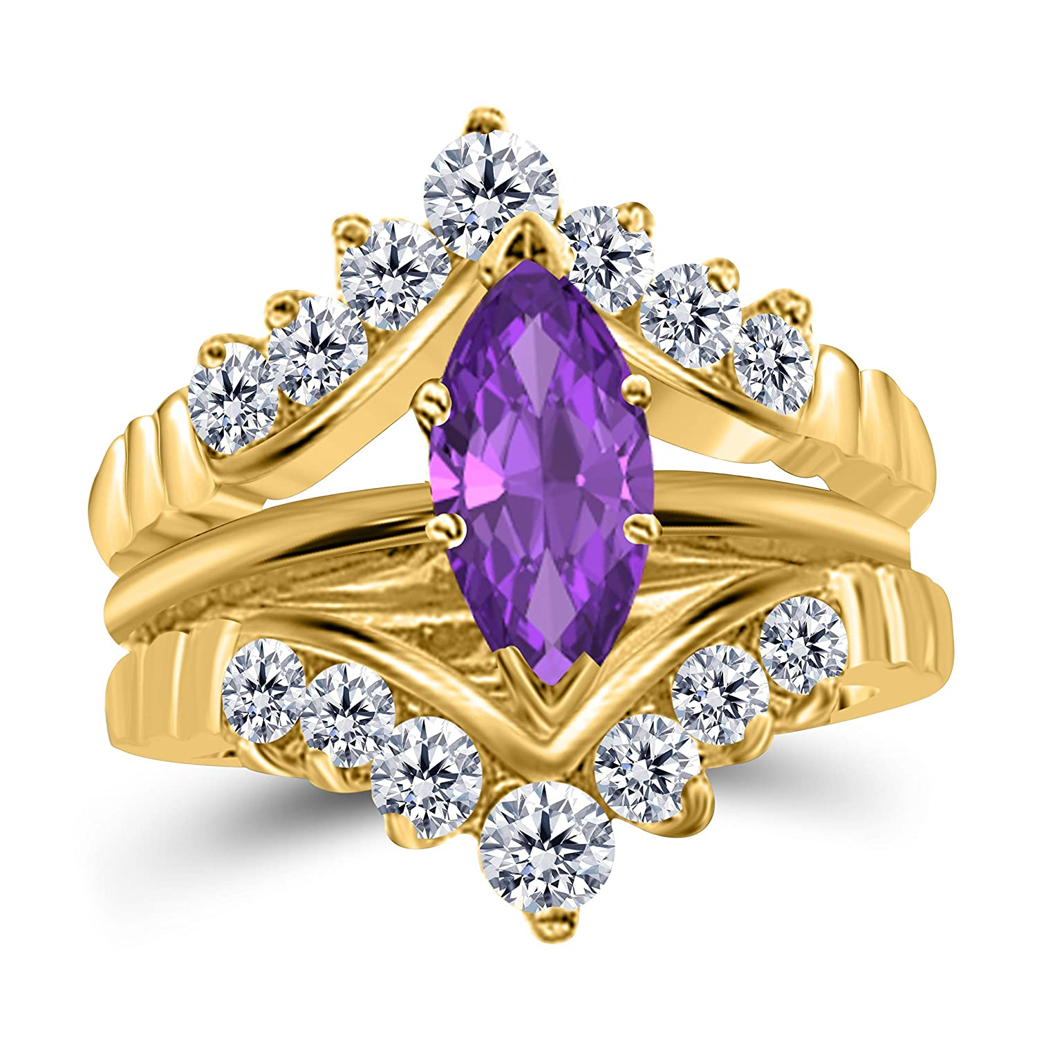Gems and Jewels 0.75 Ct Marquise Solitaire Engagement Wedding Ring Band Set Enhancer Amethyst 14k Yellow Gold Plated Alloy