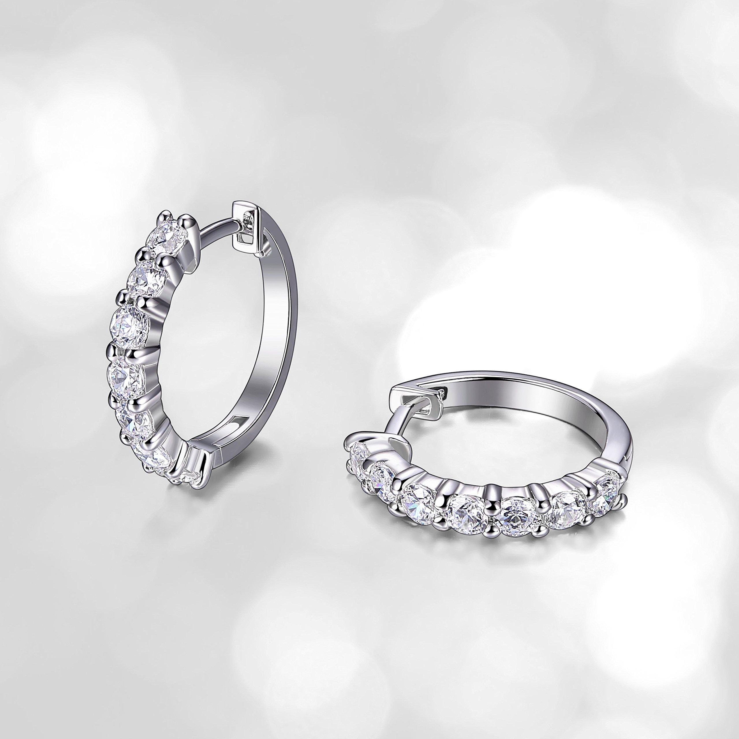 Sterling Silver Cubic Zirconia Hinged Huggie Hoop Earrings (0.84 cttw, 0.64'' diameter)