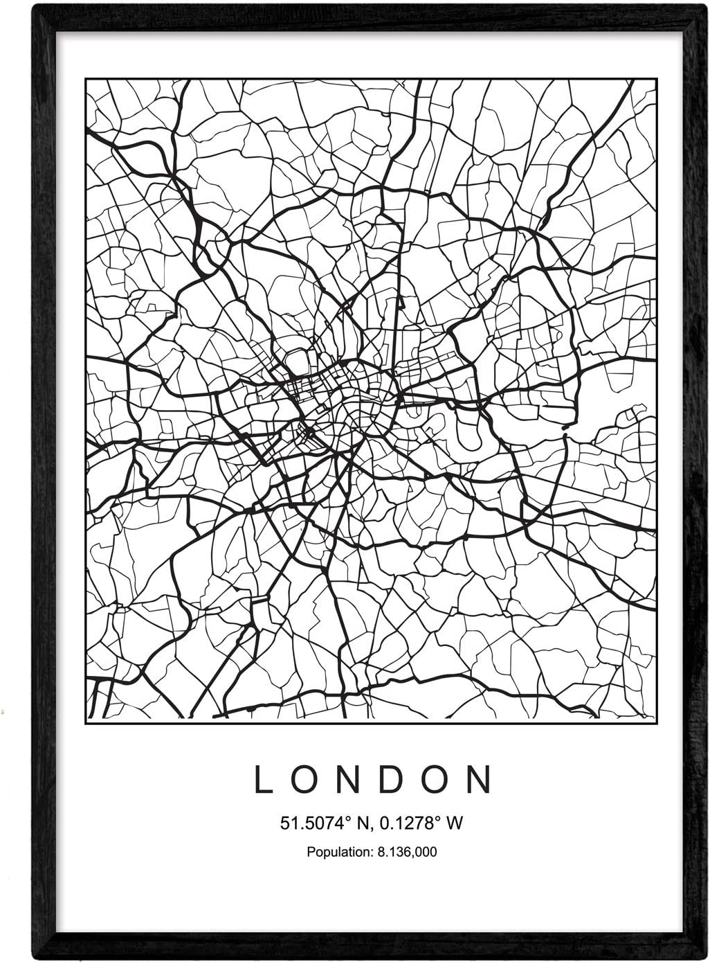Print City map London Nordic Style Black and White. Poster 11'x17' Size Printed Paper Unframed 250 gr. Paintings, Prints and Posters for Living Room and Bedroom