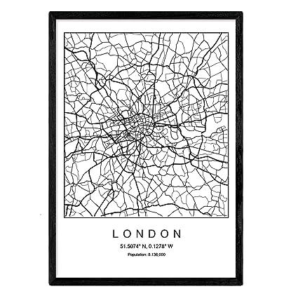 Nacnic Imprimer Carte De La Ville De Londres Style Nordique