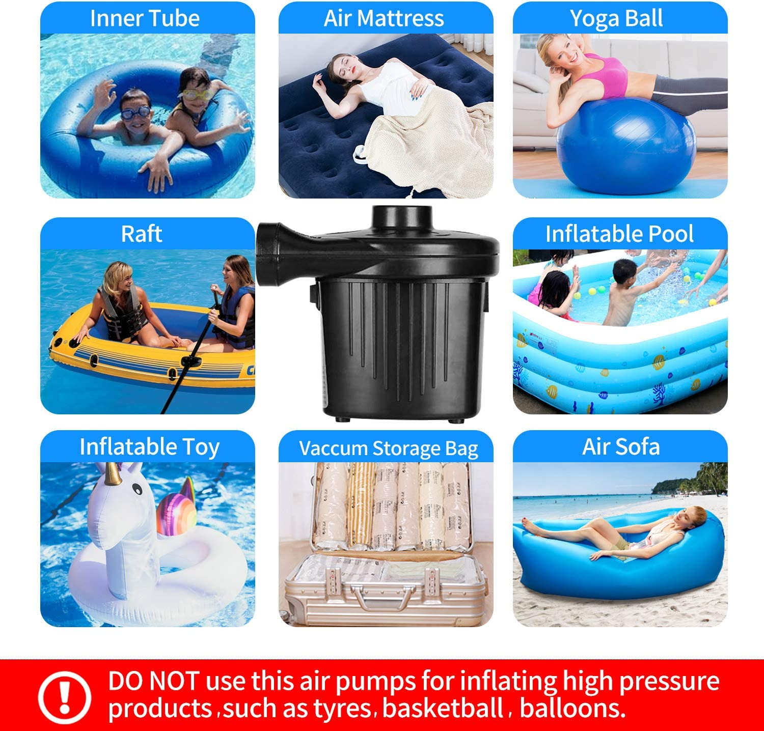 Portable Air Mattress Pumps with 4 Nozzles Electric Air Pump for Inflatables Quick-Fill Inflator//Deflator Pumps for Inflatable Pool Toys Swimming Rings Beds Rafts and More AC//130W