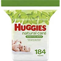 Baby Wipes, Huggies Natural Care Sensitive, UNSCENTED, Hypoallergenic, 1 Refill Pack, 184 Count (Packaging may vary)