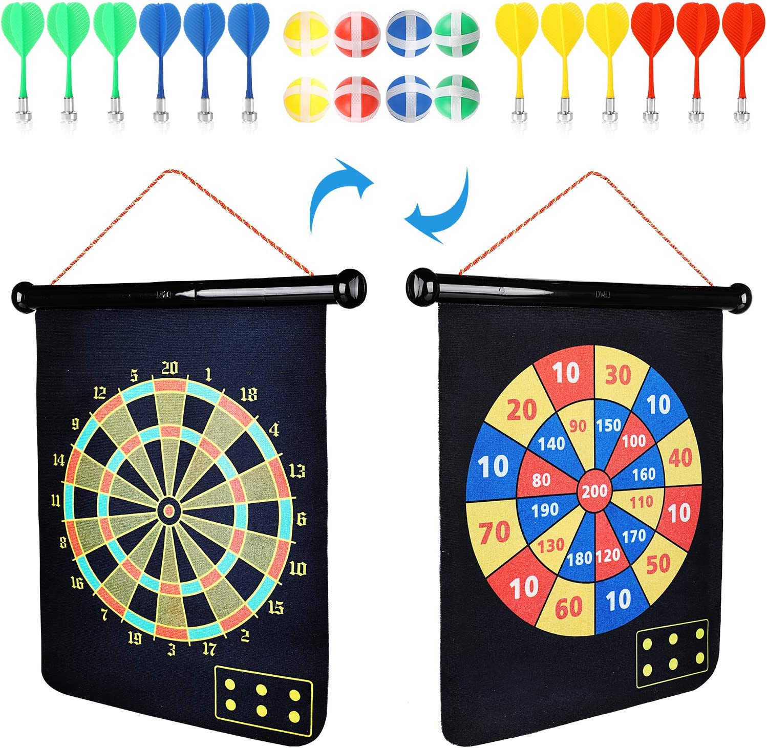 Magnetic Dart Board for Kids Adults with 12 Magnetic Darts and 8 Sticky Balls Reversible Rollup Kids Safe Dart Board Set for Boys Girls Easy Hanging Classic Dart Board Toys Indoor Outdoors Party Games